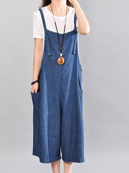 Blue Denim Casual Linen Jumpsuit