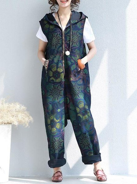 Cotton Hoodie Sleeveless Floral Casual Linen Jumpsuit