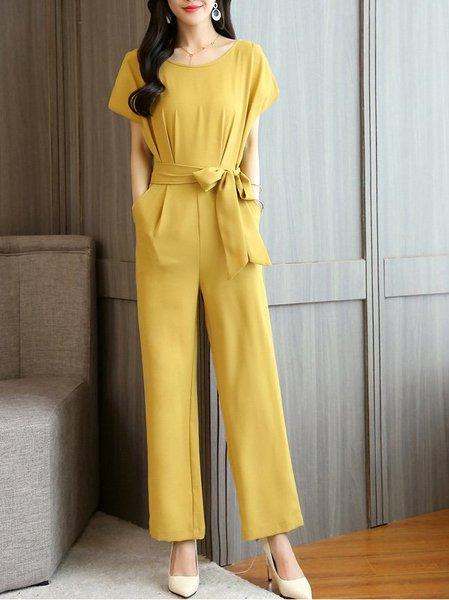 Elegant Bow Solid Jumpsuit