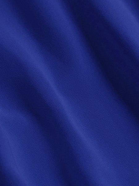 blue flounce crew neck cottonblend frill sleeve mini dress