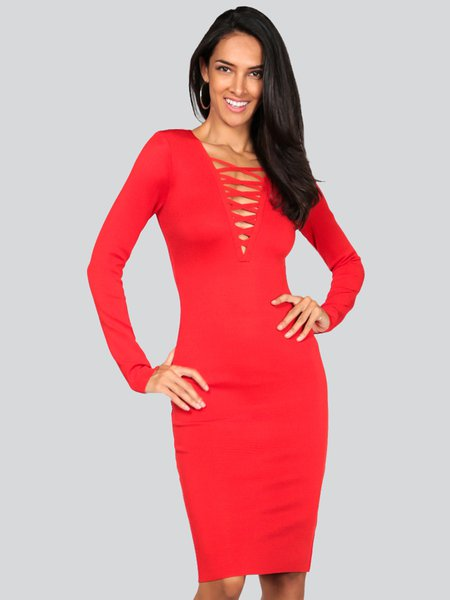 Sexy Plunging Neck Bodycon Bandage Casual Midi Dress