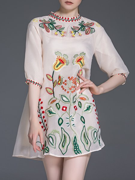 Apricot Elegant Organza A-line Floral-embroidered Mini Dress