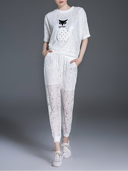 White Lace Casual Appliqued Two Piece Jumpsuit
