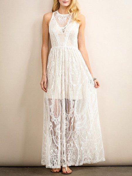 Cream Plain Crew Neck Lace Sleeveless Maxi Dress