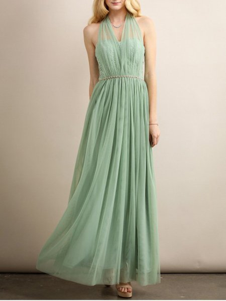 Green Swing Guipure Lace Elegant Halter Maxi Dress