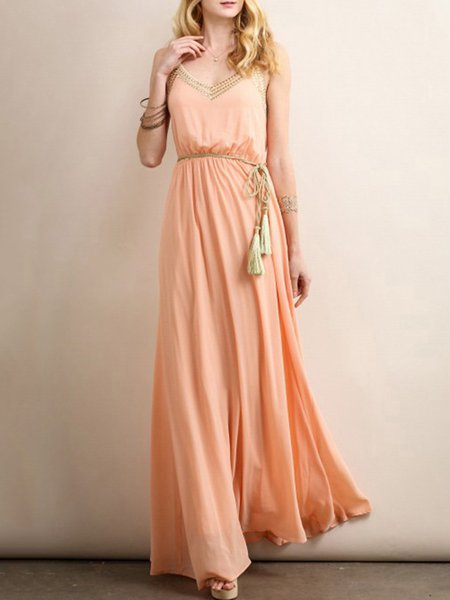 Orange Spaghetti Swing Polyester Maxi Dress
