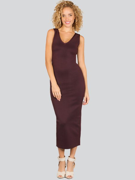 Rust V Neck Polyester Bandage Sleeveless Midi Dress