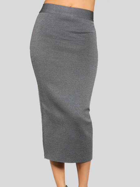 Gray Sexy Polyester Bandage Midi Skirt