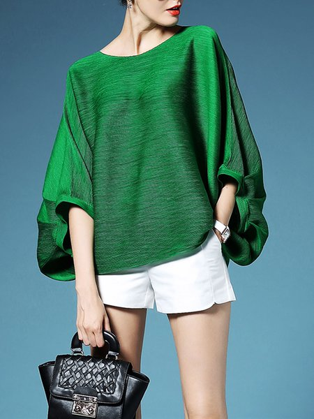 Green Solid Polyester Crew Neck Casual Long Sleeved Top