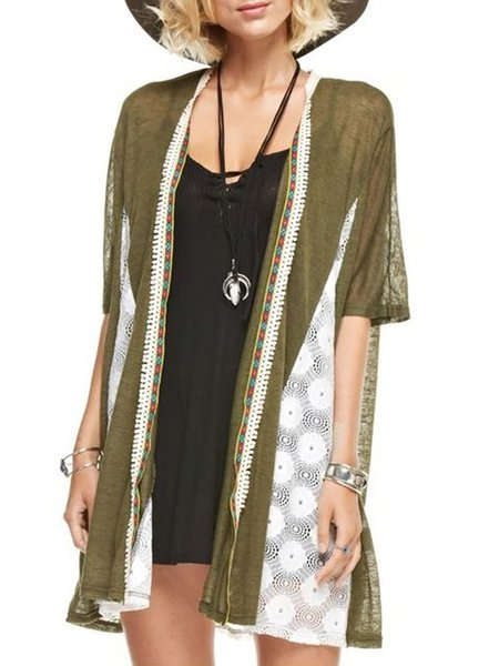 Army Green Paneled H-line Half Sleeve Cardigan