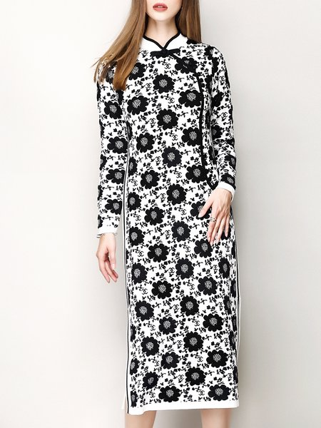 Black Long Sleeve Jacquard H-line Stand Collar Sweater Dress
