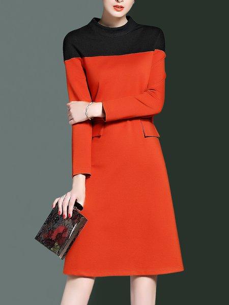 Orange Simple Crew Neck Midi Dress