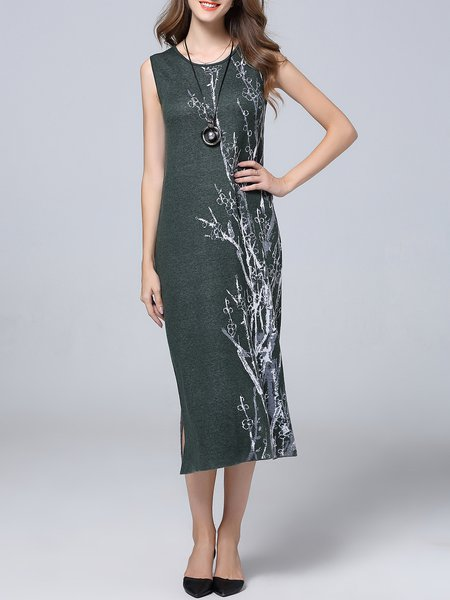Green Wool Blend A-line Sleeveless Midi Dress