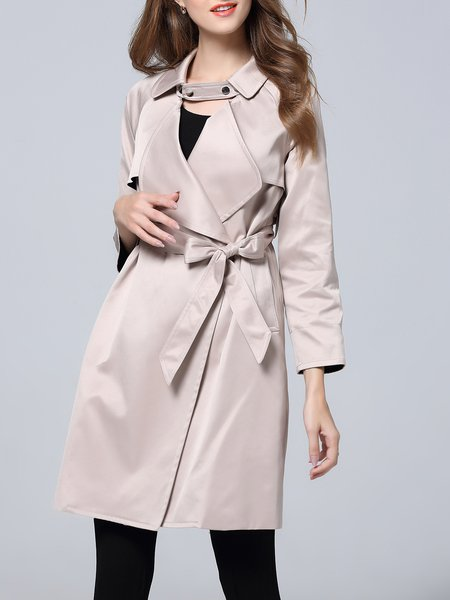 Plain A-line 3/4 Sleeve Casual Trench Coat