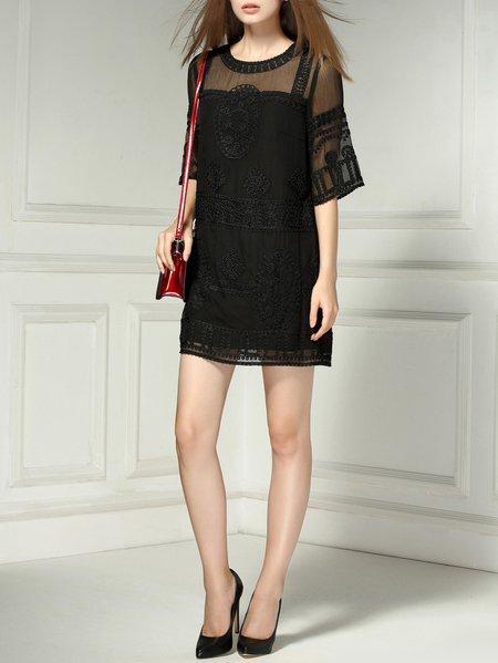 Half Sleeve Embroidered Silk Girly Mini Dress