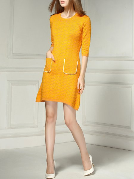 Yellow Crew Neck Half Sleeve Pockets A-line Mini Dress
