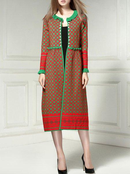 Casual Long Sleeve Jacquard Long Coat