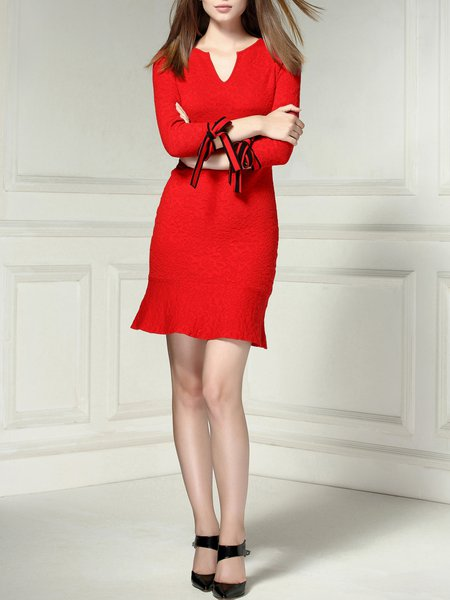 Red Flounce Knitted V Neck 3/4 Sleeve Mini Dress