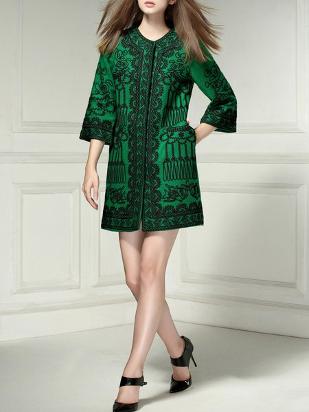 Green Embroidered H-line Vintage Long Coat