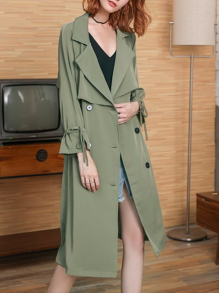 Bell Sleeve Solid Elegant Trench Coat