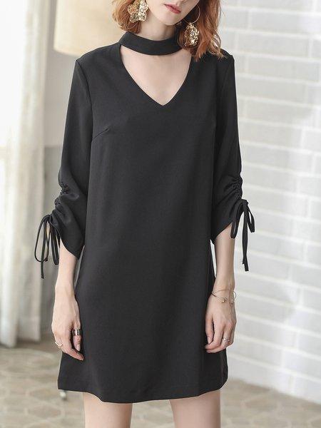 Elegant  3/4 Sleeve Solid Midi Dress