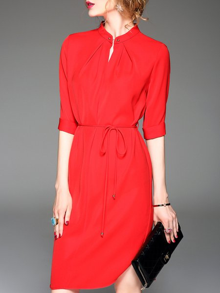 Half Sleeve A-line Casual Midi Dress