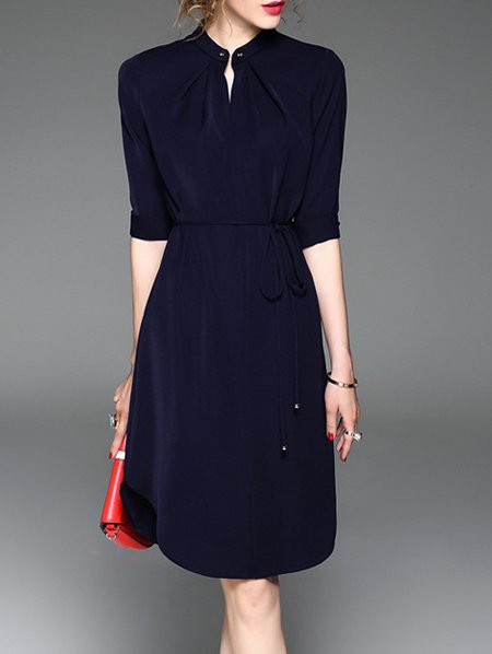 Navy Blue Slit Crew Neck Half Sleeve Midi Dress