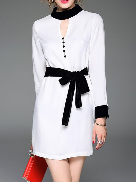 White Crew Neck Long Sleeve Elegant Shirt Dress