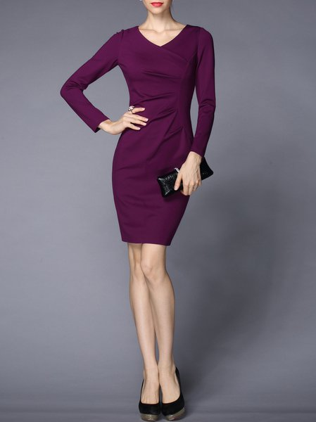 Purple Sheath Plain Long Sleeve Cotton-blend Mini Dress