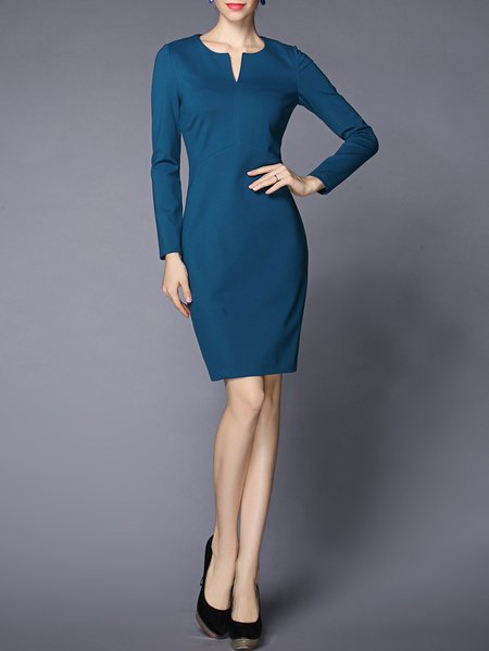 Blue V Neck Cotton-blend Elegant Sheath Mini Dress