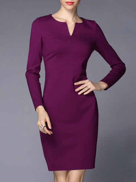 Purple Elegant Solid Cotton-blend Mini Dress