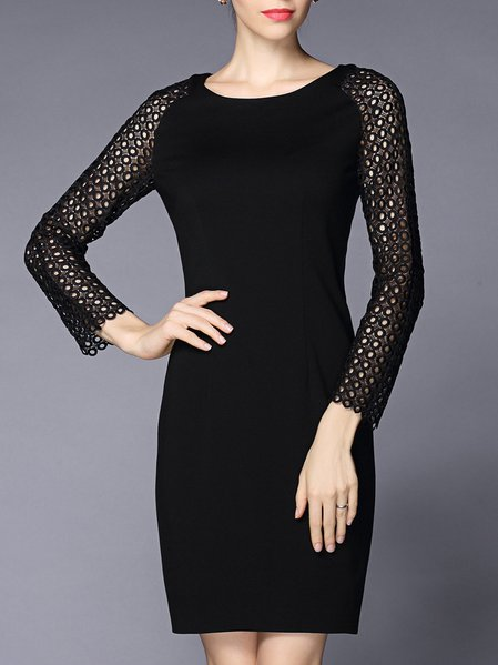 Crew Neck Long Sleeve Elegant Solid Sheath Mini Dress