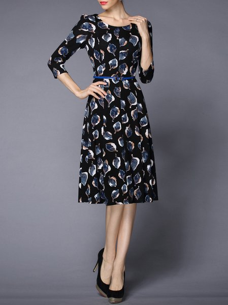 Black Floral Floral-print Cotton-blend 3/4 Sleeve Midi Dress