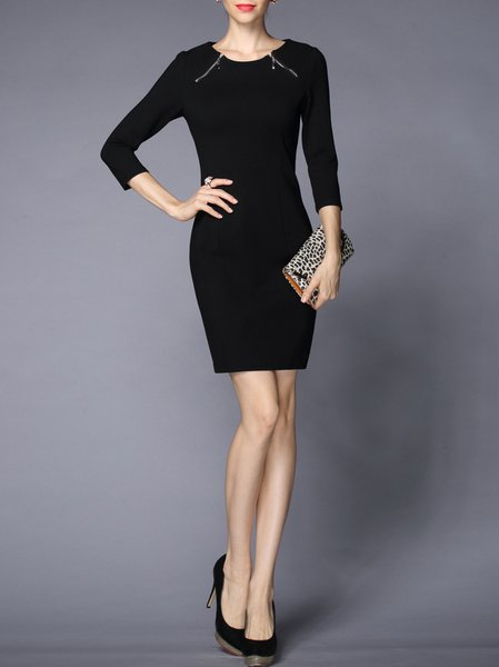 Black Sheath 3/4 Sleeve Cotton-blend Mini Dress