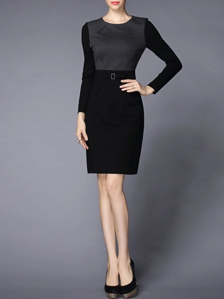 Black Elegant Color-block Crew Neck Cotton-blend Mini Dress