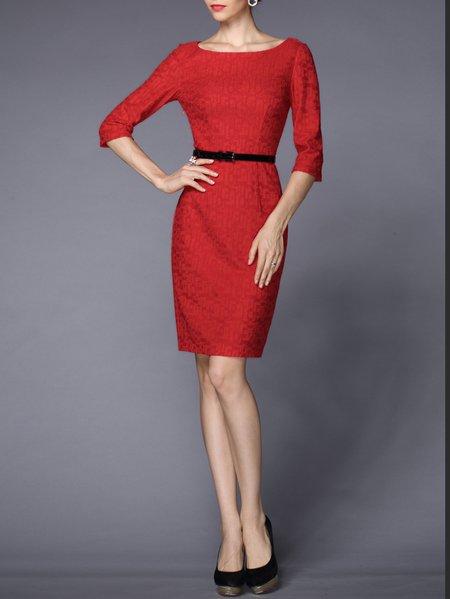 Red Sheath Plain Bateau/boat Neck 3/4 Sleeve Midi Dress