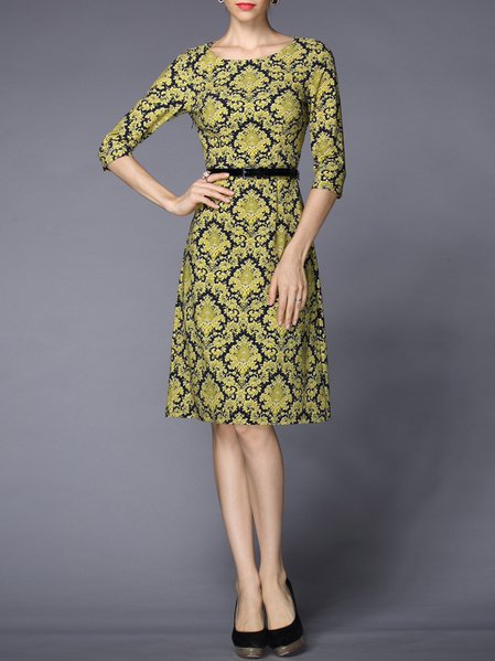 Yellow Half Sleeve Floral-print A-line Midi Dress