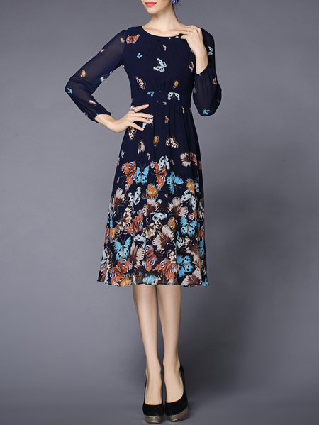 Blue Animal Print Chiffon Printed Elegant Midi Dress