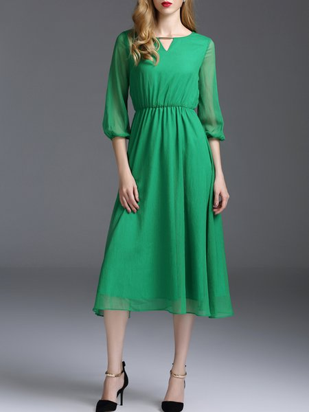 Simple 3/4 Sleeve Polyester Plain A-line Midi Dress
