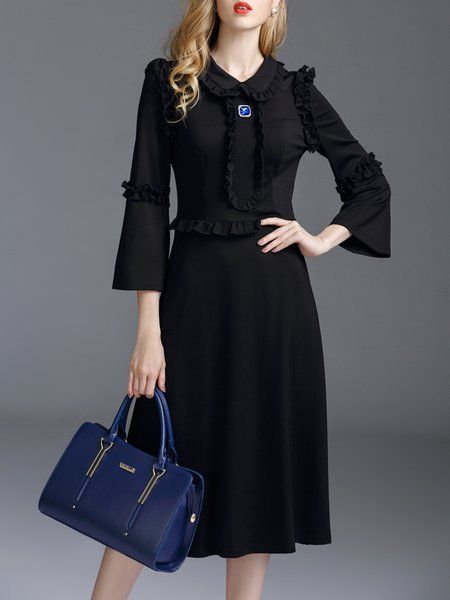 Black Paneled Elegant Peter Pan Collar Midi Dress