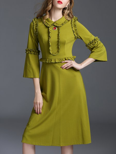Frill Sleeve Vintage Paneled Midi Dress