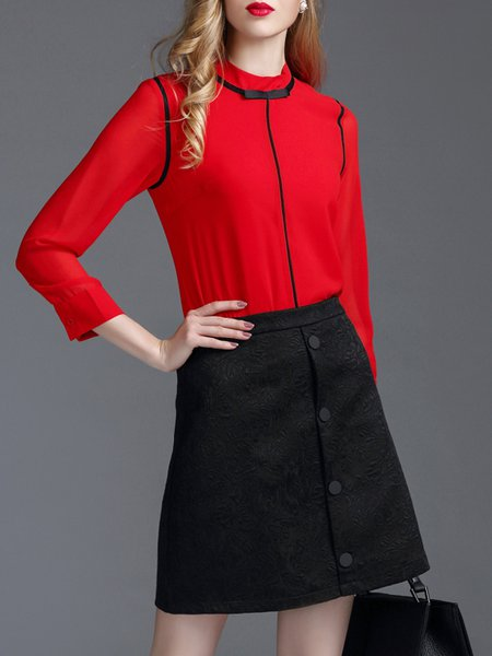 Casual Stand Collar Color-block Long Sleeve Two Piece Mini Dress