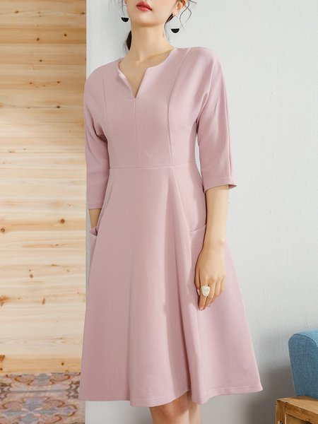Work 3/4 Sleeve Solid A-line Midi Dress