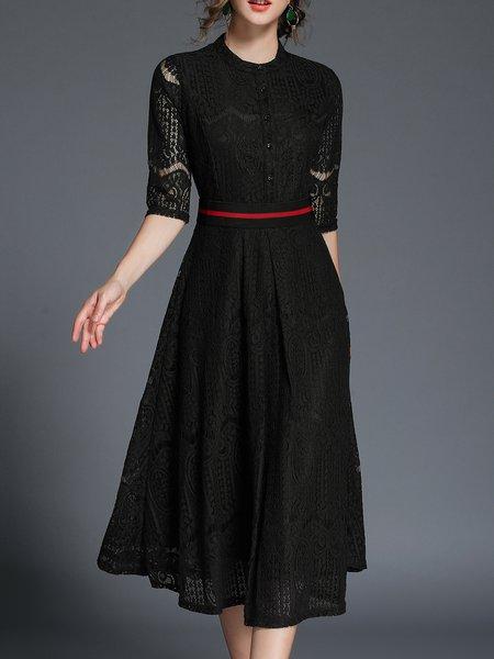 Black Elegant Guipure Lace Cotton Midi Dress