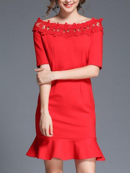 Red  Bateau/boat Neck Shorts Sleeve Midi Dress