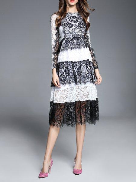 Multicolor Guipure Lace Long Sleeve A-line Midi Dress