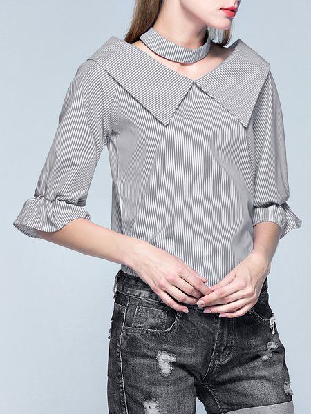 Black Shawl Collar Casual Stripes Blouse