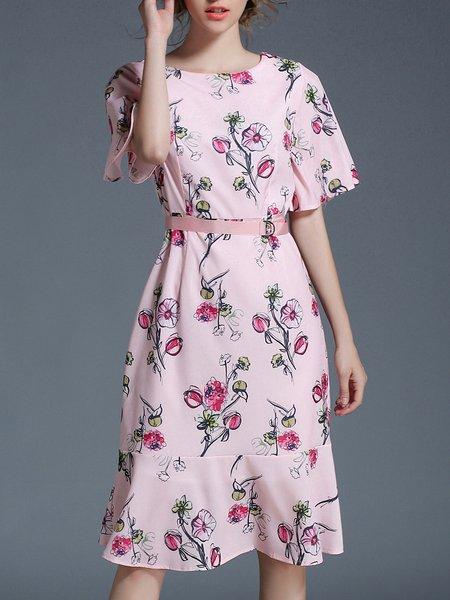 Pink Flounce Floral Half Sleeve Floral-print Midi Dress