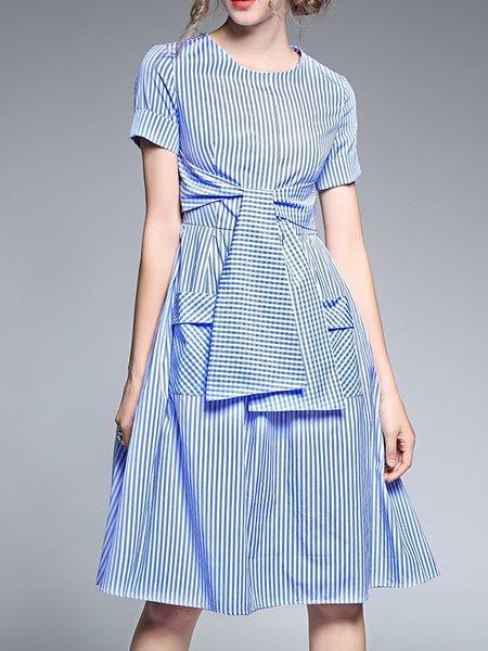 Blue Pockets Elegant Midi Dress