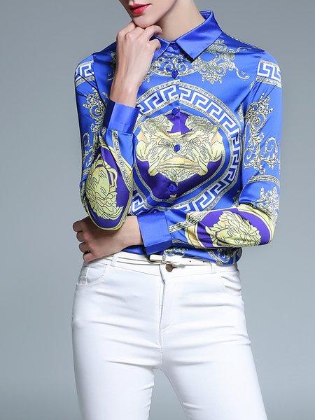 Casual Shirt Collar Long Sleeve Blouse